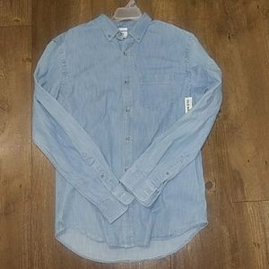 New mens chambray button up shirt m old navy